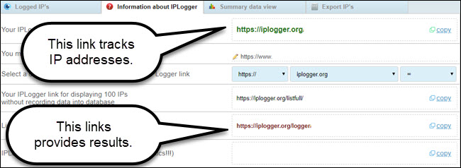IP logger generated link site, with callout to tracking and viewing links