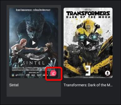 After the title has finished downloading, the icon will turn into a red checkmark. Click the red checkmark to remove the title from your device