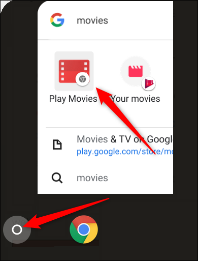 Click the launcher, start typing Movies, then click the Play Movies Chrome app, it
