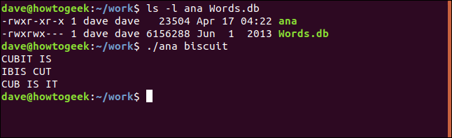 test of ana utility in work directory