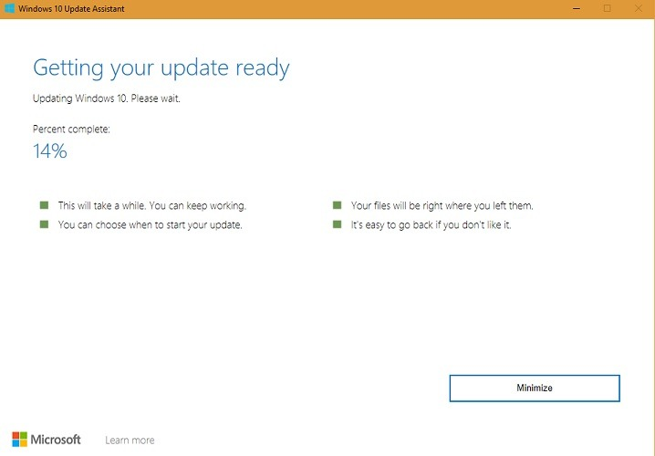 Windows 10 Update Assistant Getting Updates Ready 14 Percent Stage3
