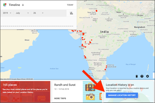Click on Manage Location History button from Google Maps Timeline page
