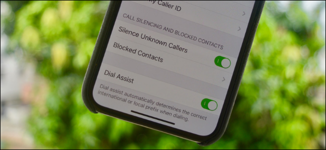 Silence Unknown Callers Toggle in Settings App