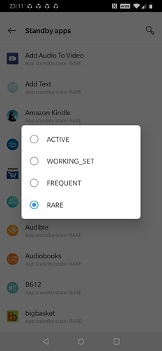 Standby Apps Categories