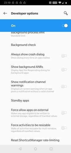 Standby Apps Option