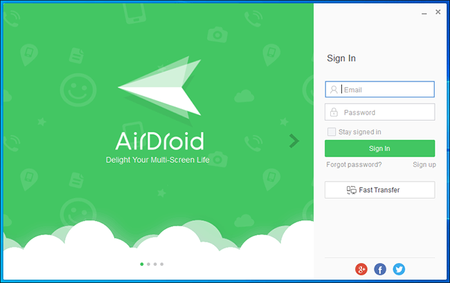 Airdroid for PC Login Screen