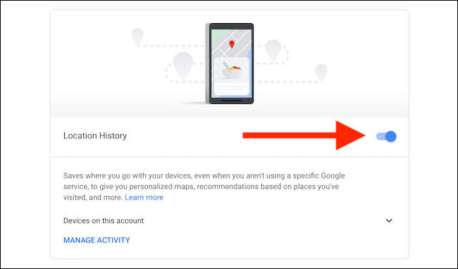 Turn off Location History for Google Maps