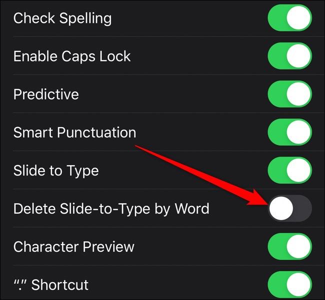 Apple iPhone Toggle Off Delete Slide to Type by Word